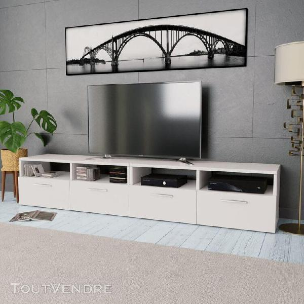 Meuble tv 2 pcs aggloméré 95 x 35 x 36 cm blanc-xiu