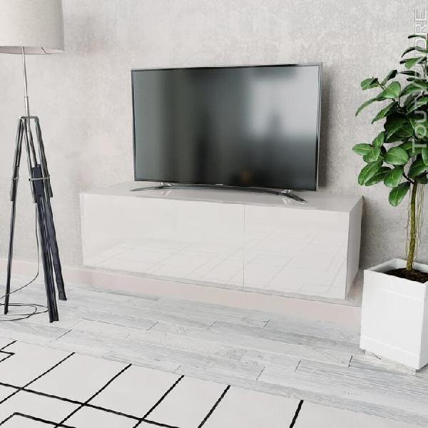 Meuble tv aggloméré 120 x 40 x 34 cm blanc brillant-xiu
