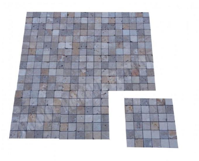 Travertin couleur mixte mosaïque 5x5 cm rustique en stock