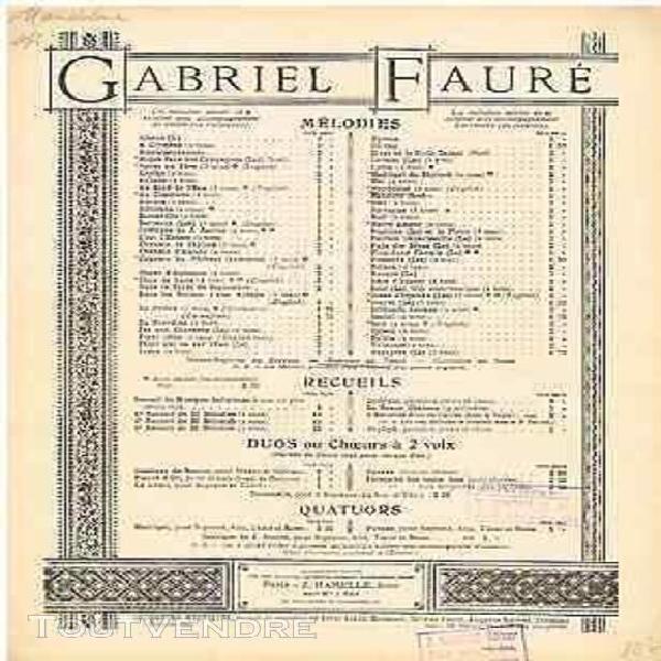 Fauré mandoline poésie de verlaine partition chant & piano