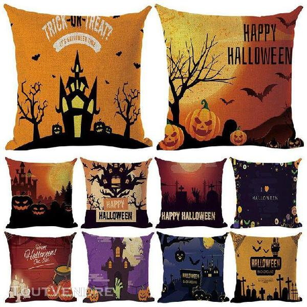 Halloween taie d'oreiller maison lit halloween coton lin ant