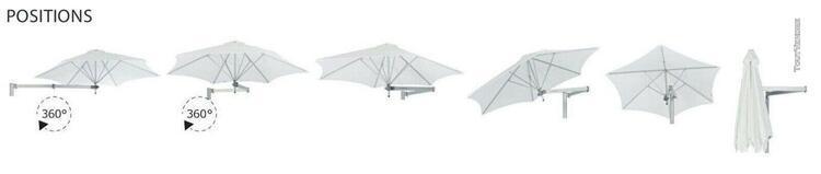 Parasol mural bras télescopique inclinable et réglable