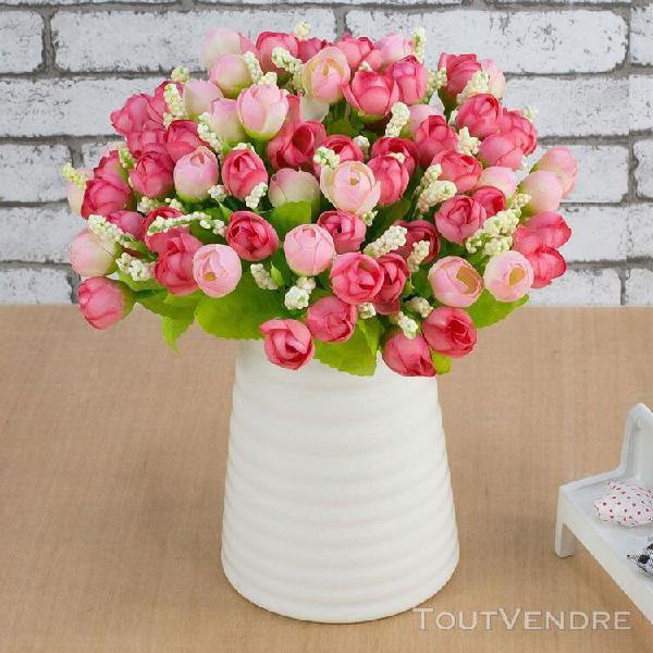 Soie fleurs artificielles 15 tête mini rose decor à la