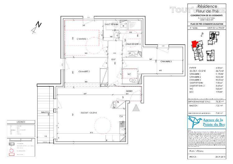 t4 neuf de 78,30 m² - pornichet à proximité des commerces