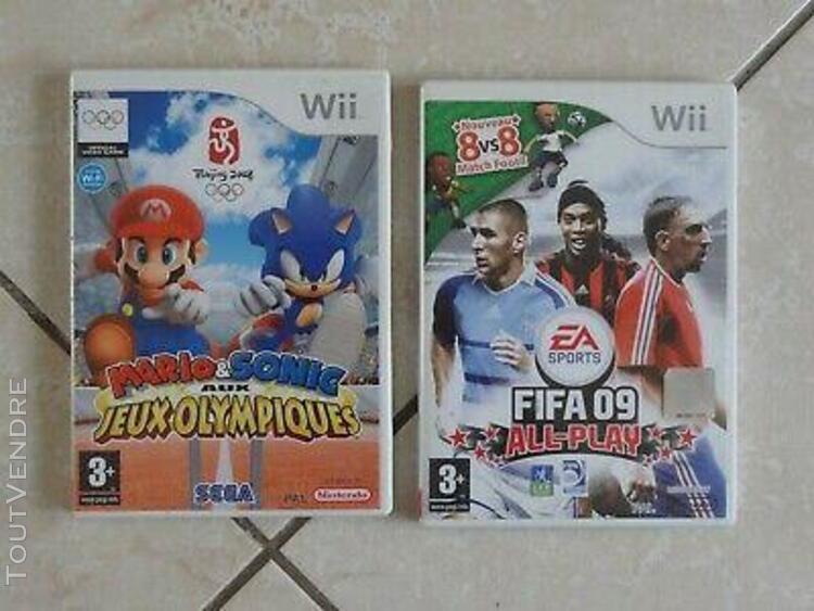 Nintendo wii, jeux 'fifa 09' et 'mario aux jeux olympiques'