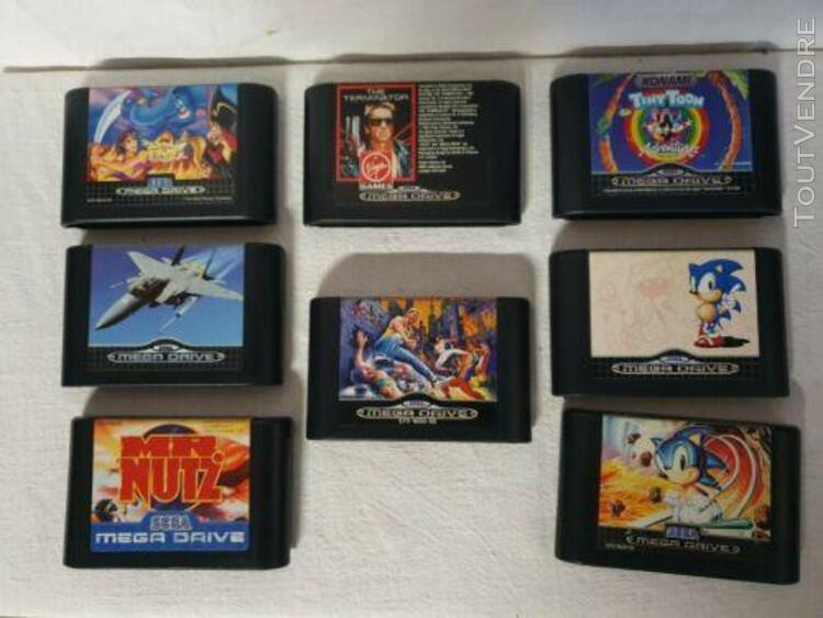 8 jeux mega drive sega complet en boite, livret, tiny toon