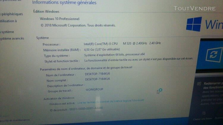 Informatique sony vaio pcg-51111m core i5
