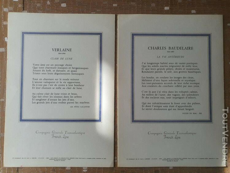 2 * menus originaux paquebot france par jean-adrien mercier