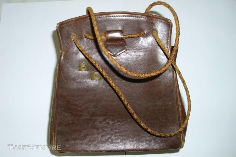 Ancien petit sac en cuir avec initial s c hauteur 16 cm lar