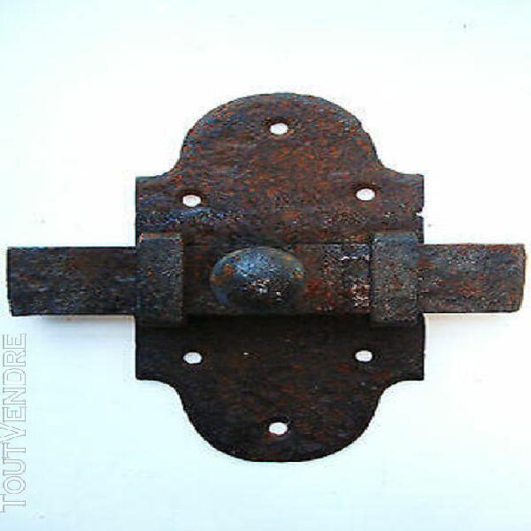 Ancien verrou targette serrure acier forge rivet pour porte,
