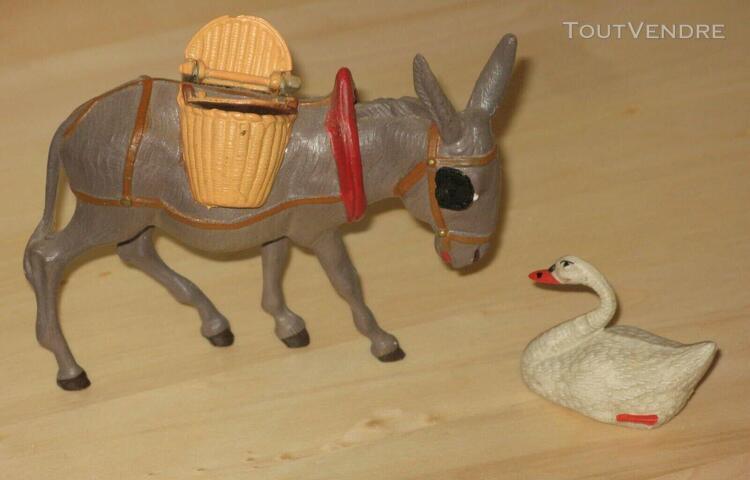 Jouet ancien petit âne celluloïd petitcollin + petit cygne