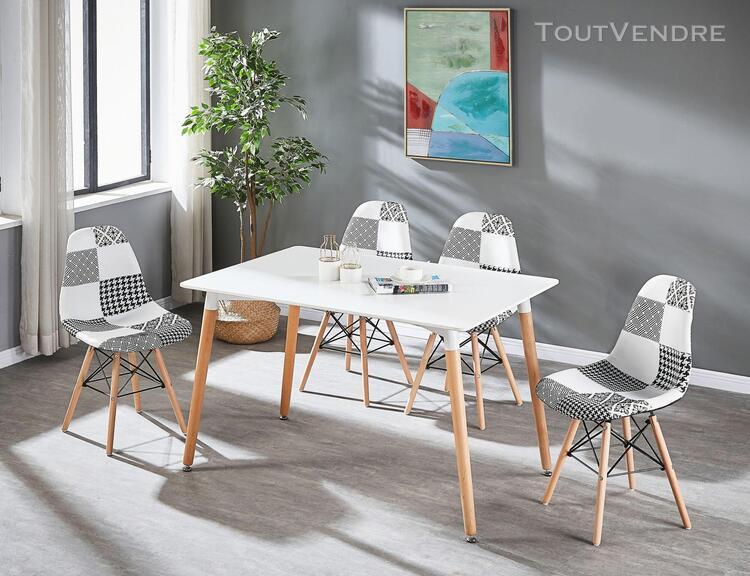 Ensemble table à manger blanche + 4 chaises en tissu