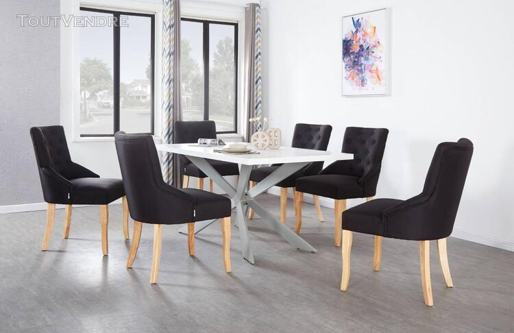 Ensemble table à manger blanche + 6 chaises capitonnées en