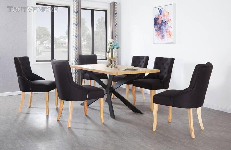 Ensemble table à manger coloris chêne + 6 chaises