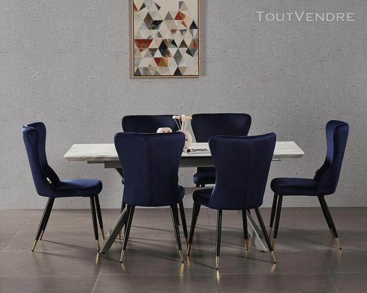 Ensemble table à manger extensible effet marbre + 4 chaises