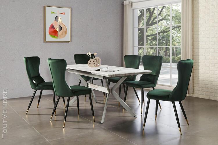 Ensemble table à manger extensible effet marbre + 6 chaises