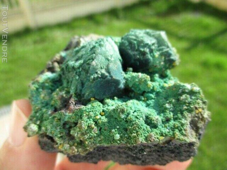 Azurite pseudomorphosée en malachite avec wulfénite, whim