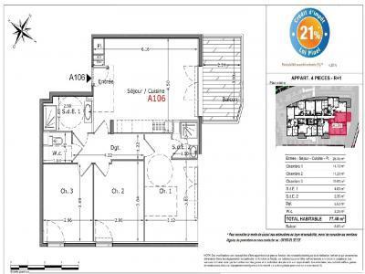 Programme immobilier neuf cagnes-sur-mer 4 pièces 77 m2