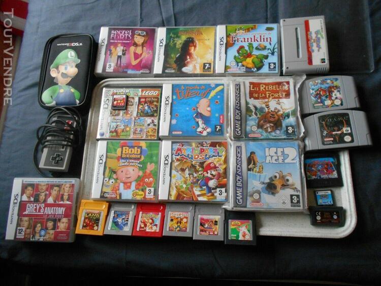 Super lot de 22 jeux ds / game boy/game gear/nintendo 64/sup