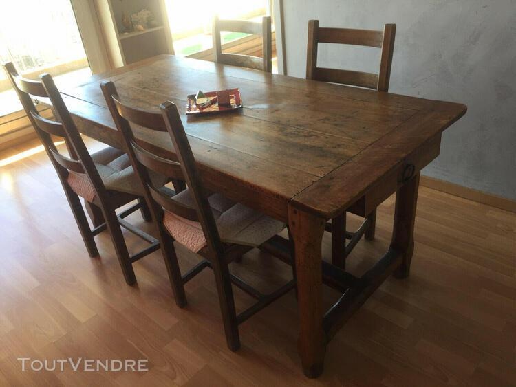 Table de salle à manger - ancienne - plateau noyer -
