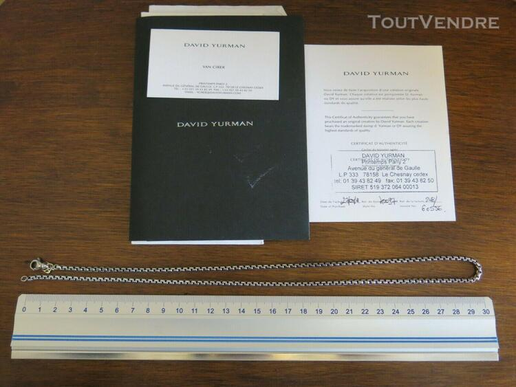 "David yurman 24"" 3.6 mm medium box chain argent"