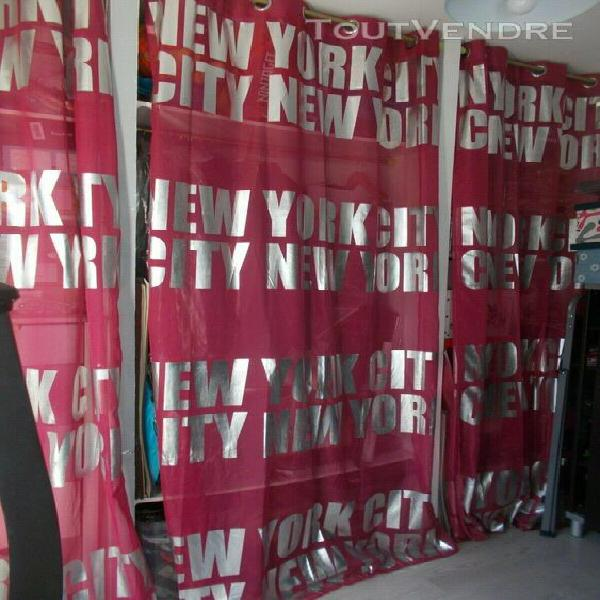 """Lot de 3 rideaux oeillets new york rose 140x240 """"suberbe et"""