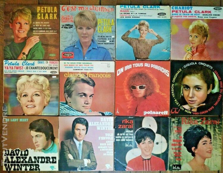 Lot de 35 vinyles 45t - 21 artistes - petula clark, adamo...