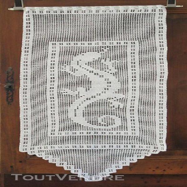Rideaux salamandre brise-vue crochet dentelle coton blanc f