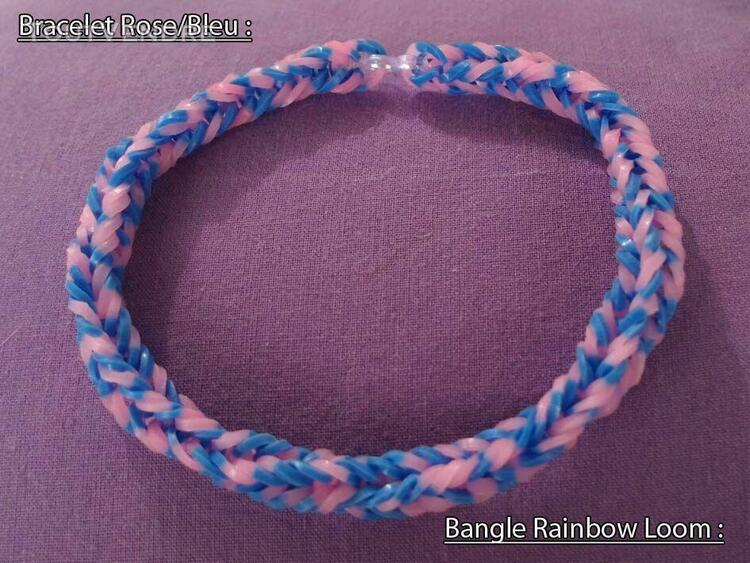 Bangle hand made rainbow loom bands pink blue jewel creator