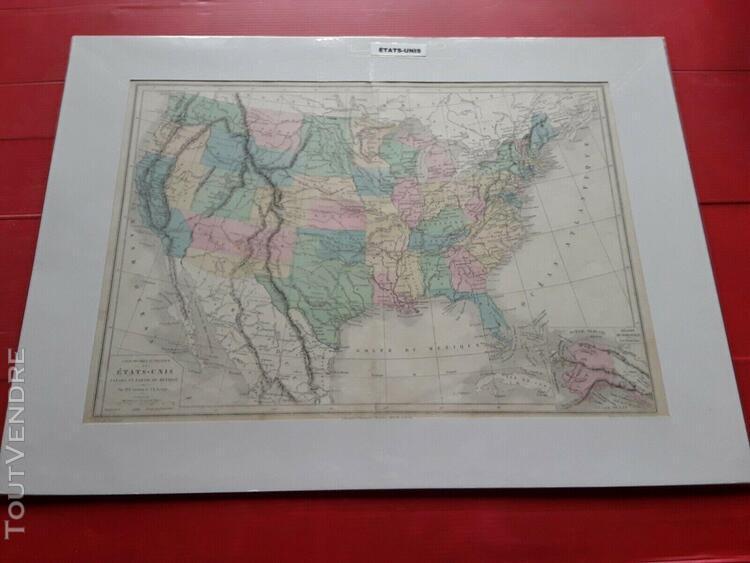 Carte ancienne des états-unis par drioux et leroy encadrée