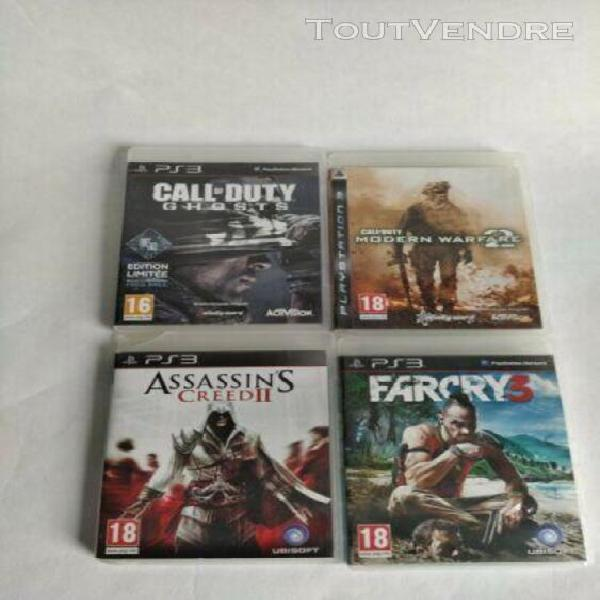 Lot 4 jeux ps3 call of duty ghosts/mw ii/assassin's creed ii