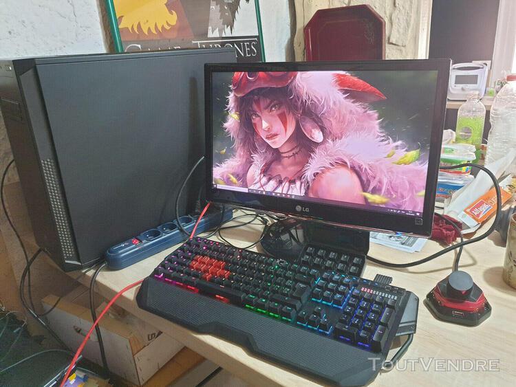 Ordinateur gamer (tour, écran, clavier)