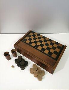 Ancien coffret de jeu dames/jacquet / backgammon-marqueterie