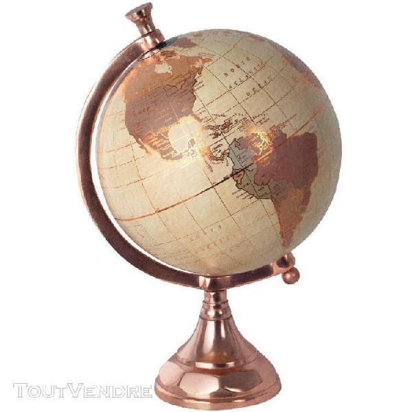 Décoration globe terrestre pied cuivré