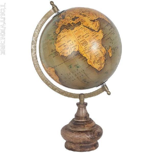 Décoration globe terrestre pied en bois modèle1
