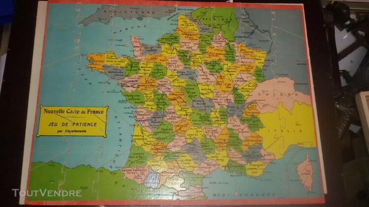 """Jeux puzzle en bois.carte de france """" departement saus"""