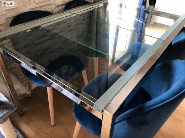 Table ikea extensible en acier chromé et verre trempé avec
