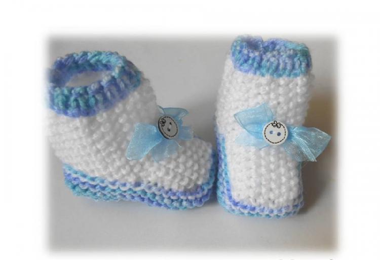 Chaussons bébé 3 mois tricotés main