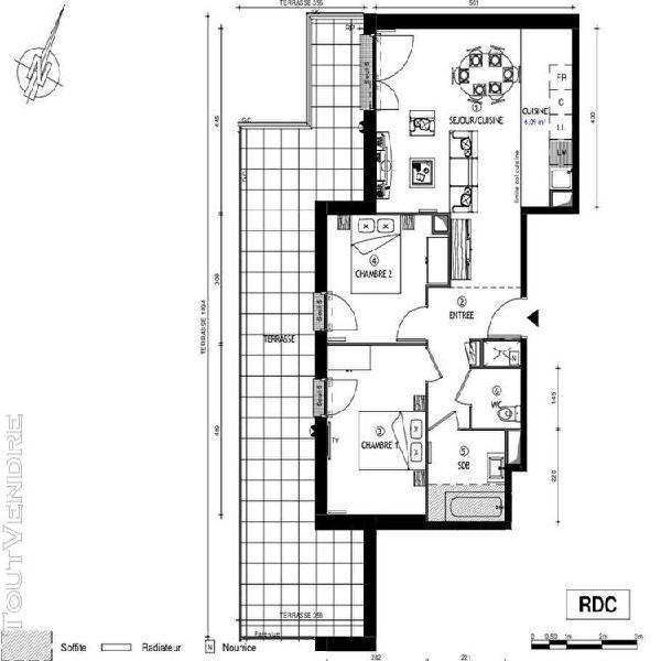 3p de 62m2 avec jardin de 36m2 exposé sud ouest avec balcon