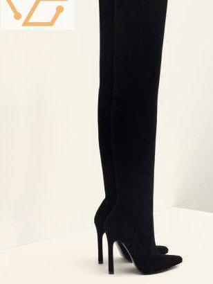 Bottes cuissardes noires imitation daim zara