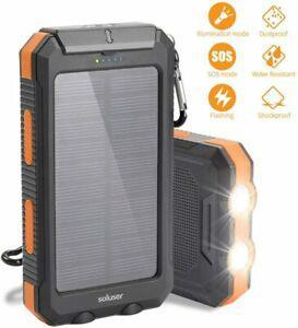 Chargeur solaire 10000mah batterie externe 2 ports usb