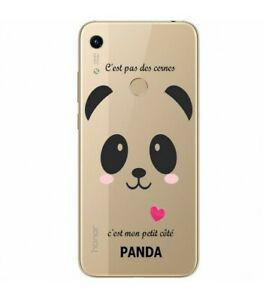 Coque honor 8a panda coeur rose cute kawaii transparente
