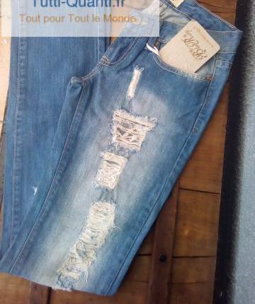 Jeans délavé destroy blue rags neuf