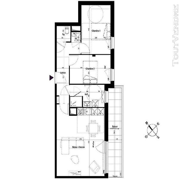 Rennes immobilier appartement 3 pièces 64,49m2 sud est 1er