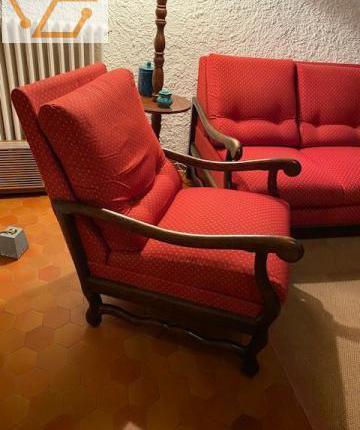 Salon 1 canapé et 2 fauteuils chêne massif...