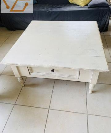 Superbe table basse pin massif patine blanche