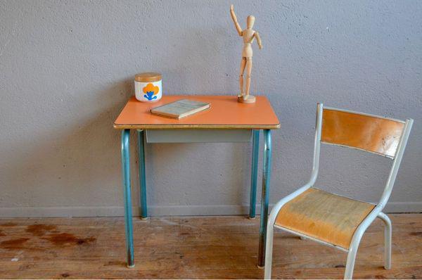 Bureau et chaise enfant, pupitre vintage rétro école
