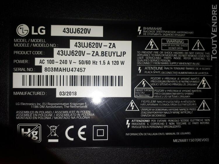 Carte module alimentation téléviseur télé lg 49uj620v