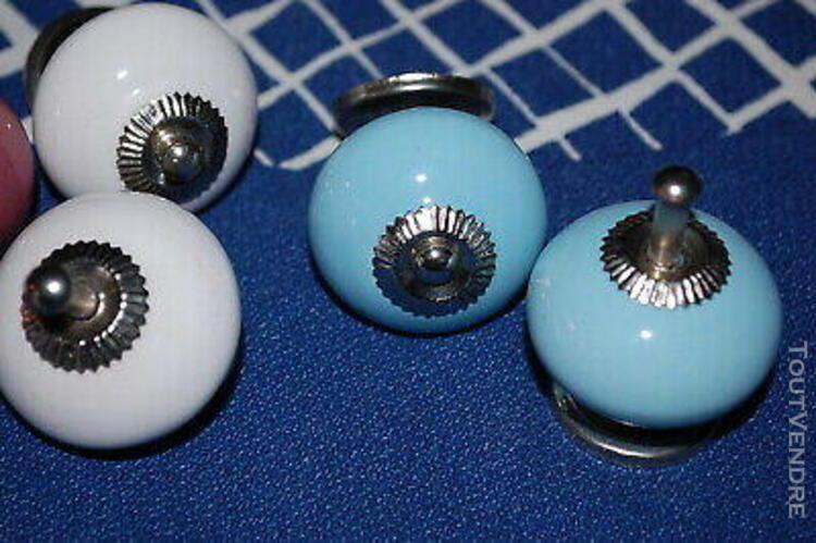 Di / lot 6 poignées boutons porcelaine rose bleu blanc