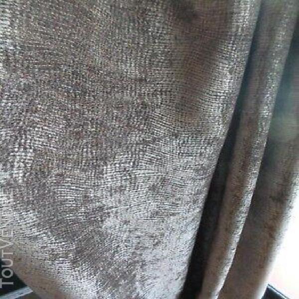Paire de rideaux belle qualité velours stucture marron